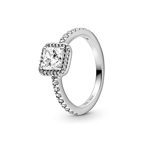 Pandora anillo Señoras Plata esterlina 925 circonita Cuadrado - 198863C01-56