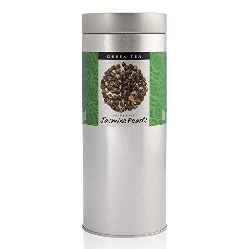 The Exotic Teapot - Jasmine Pearls, 200g Tin, Hand Rolled Jasmine Tea, Naturally Scented with Real Jasmine Blossoms
