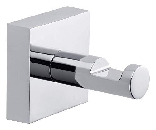 Appendi asciugamani tesa® Ekkro, metallo cromato lucido, autoadesivo, tecnologia di montaggio adesiva, 39mm x 39mm x 52mm