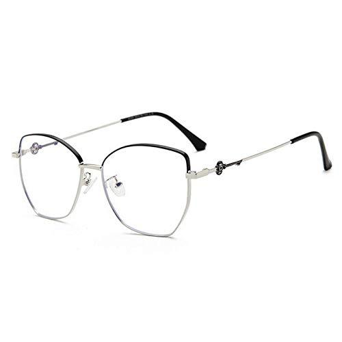 NJKJ Anteojos Gafas Graduadas Con Lente Poligonal Para Miopía Con Bloqueo De Luz Azul Gafas Miopes De Metal Para Mujer 0-0.5 -0.75 A -6.0-Black_Silver_Custom_Prescription