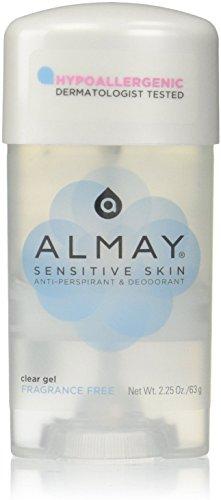 Almay Sensitive Skin Clear Gel, Anti-Perspirant and Deodorant, Fragrance Free, 2.25 Oz (Pack of 2)