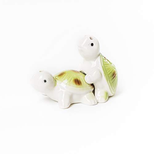Flanacom Lustige Salz- und Pfefferstreuer aus Porzellan - Freche Salzstreuer Gewürzspender - Einweihungsgeschenk Hochzeitsgeschenk Geburtstagsgeschenk für Pärchen Paare (Schildkröten)