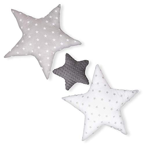 cojin estrella cojines bebe - decoracion peluche estrella regalo bebe recien nacido niña niños chico gris-blanco oscuro con estrellas y lunares ø 30cm et 2 x ø 60cm
