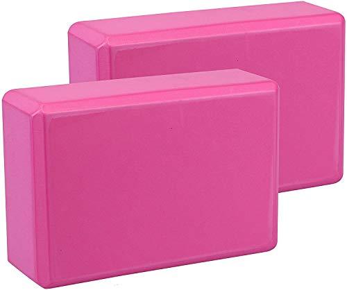 LTYH Yoga Blocks Set of 2,Yoga Block Pilates Eva Foaming Foam Brick Exercise,Full Yoga Blocks,Natural Cork Yoga Brick Blocks Set Eco-Friendly,Easy To Grip,Non-Slip Surface (Pink)