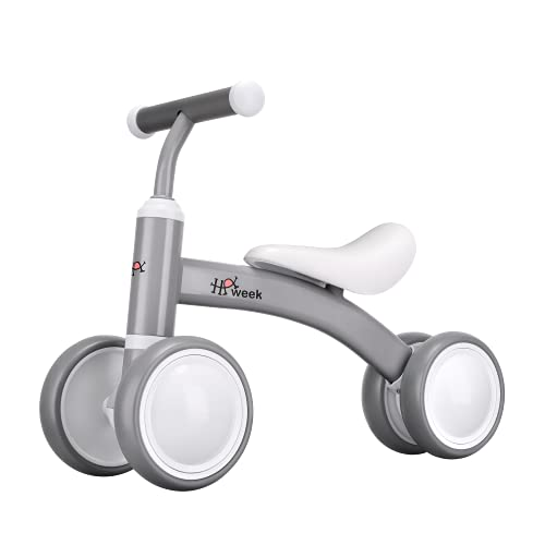 Baby Balance Bike Toys for 1 Year Old Boy and Girl Toddler Bike Baby Walker Riding Gifts for 12-36 Months Boys Girls No Pedal Infant 4 Wheels Baby s First Birthday Gift (Silver)