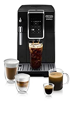 De'Longhi ECAM35020B Dinamica Automatic Coffee & Espresso Machine TrueBrew (Iced-Coffee), Burr Grinder + Descaling Solution, Cleaning Brush & Bean Shaped Icecube Tray, Black