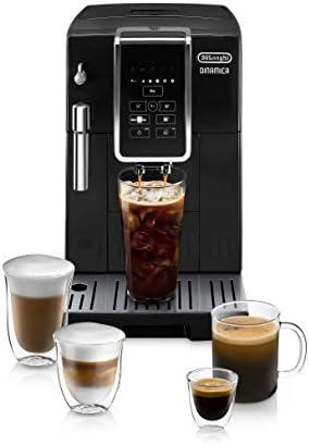 De'Longhi Dinamica Máquina automática de café y café espresso TrueBrew (café), Molinillo de rebabas + solución descalcificadora, cepillo de limpieza y bandeja de helado en forma de frijol, negro, ECAM35020B
