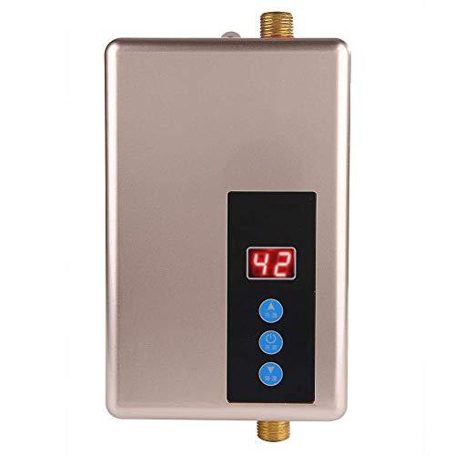 Mini Calentador de Agua Electrico Instantaneo Medidas de Seguridad Multiples Calentador de Agua Ducha Sin Tanque Sistema de Agua Caliente para Cocina y Bano 220v 5.5kw (Golden)