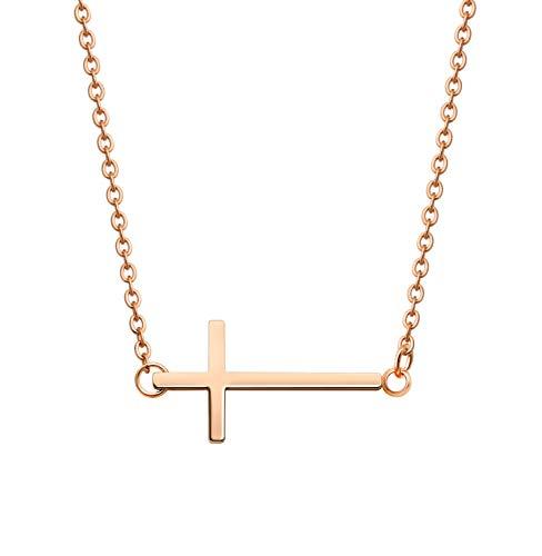 KristLand -18K Rose Gold / S925 Silver Bar Short Necklace Simple Solid Cross Necklace Adjustable Long Choker 18K Rose Gold