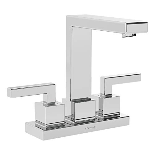 Symmons SLC-3612-1.5 Duro 4 in. Centerset 2-Handle Bathroom Faucet with Drain Assembly in Polished Chrome (1.5 GPM)