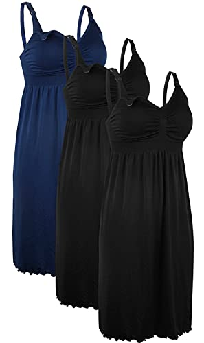 iLoveSIA 3PCS Women's Maternity Breastfeeding Dress Nursing Nightgown Black+Black+Blue Size S