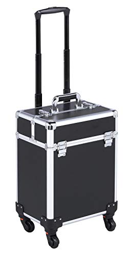 Yaheetech Portable Cosmetic Case Beauty Trolley Travel Case Hairdressing Makeup Box Storage Organiser with Universal Wheels Black