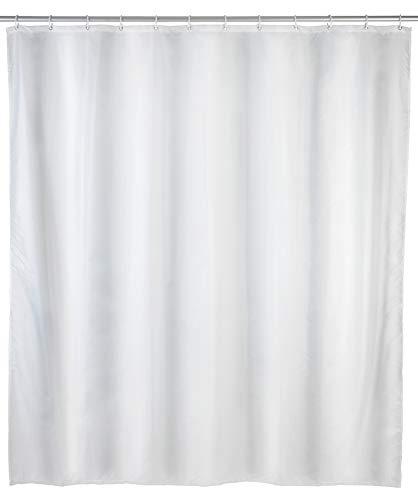 WENKO Anti-Schimmel Duschvorhang Uni White - Anti-Bakteriell, Textil, waschbar, wasserabweisend, schimmelresistent, mit 12 Duschvorhangringen, Polyester, 120 x 200 cm, Weiß