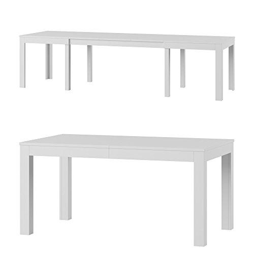 Furniture24 Tisch Küchentisch Esszimmertisch Esstisch WENUS Ausziehbar 160-300 cm (Weiß Matt)