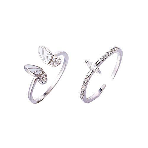 Anillo de dedo índice de plata de ley S925, 3 A, diseño de mariposa tridimensional con diseño de mariposa, combinación de moda, personalidad de moda, regalo para mujeres y niñas