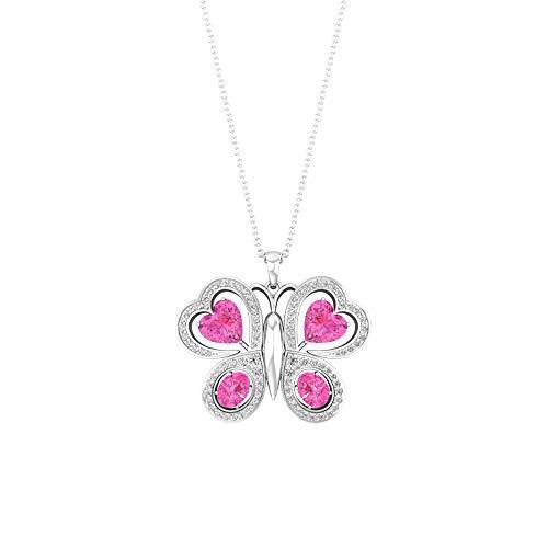 Colgante de mariposa con forma de corazón ovalado de zafiro rosa creado en laboratorio de diamante certificado, piedra natal de julio, 10K Oro amarillo Con cadena
