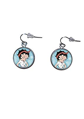 Boucles d'oreilles suspendues en acier inoxydable, diamètre 20 mm, fait à la main, illustration Betty Boop 4