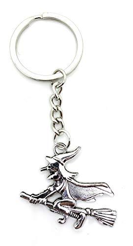 Onlineworld2013 Schlüsselanhänger Fliegende Hexe mit Besen Silber Metall Anhänger Charm