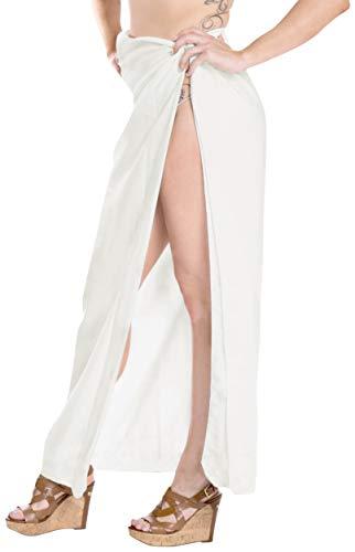 LA LEELA Christmas Kostüme Weihnachtsmann Geschenke Urlaubs Party Badeanzug einpacken Bademode Sarong Bademoden Pareo verschleiern Frauen Anzug Baden Weiß_T731 eine Größe: Länge: 88