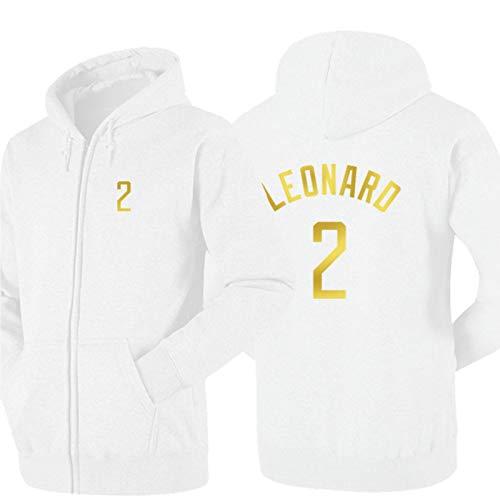 DDOYY Leonard # 2 Clippers Chaqueta de baloncesto estilo chaqueta de baloncesto con cremallera larga manga larga con capucha al aire libre deportes interior suéter blanco -S
