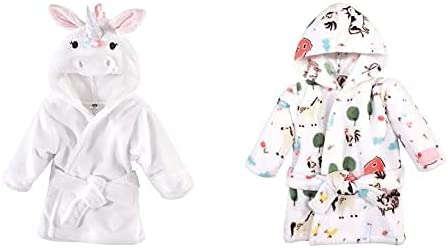 Hudson Baby Girl Plush Animal Face Bathrobe 2-Pack, Rainbow Unicorn Farm Animals