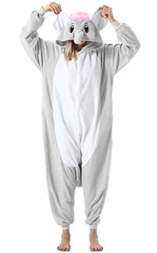 Mujer Hombre Pijama Animal Entero Unisex para Adultos con Capucha Cosplay Pyjamas Ropa de Dormir Traje de Disfraz para Festival de Carnaval Halloween Navidad Gris Elefante para Altura 148-187cm