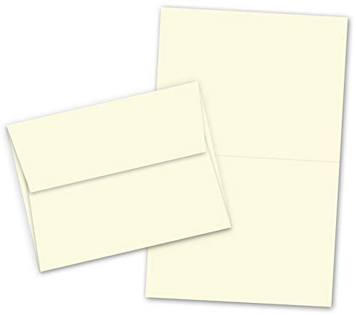 A7-5' X 7' Heavyweight Blank Cream/Natural Greeting Fold Over Card Sets - 50 Cards & Envelopes