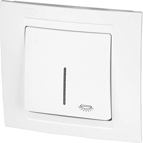 UP Taster mit Licht-Symbol + LED-Beleuchtung - All-in-One - Rahmen + Unterputz-Einsatz + Abdeckung (Serie M1 reinweiß)
