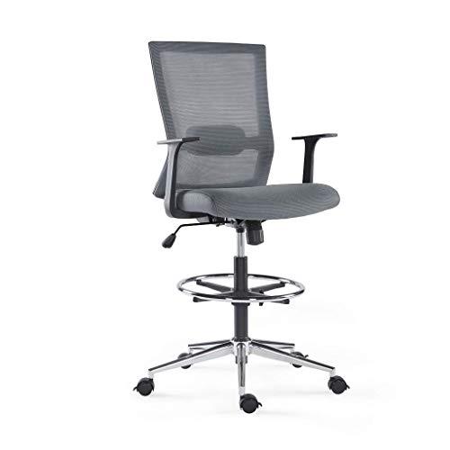 Sunon ergonomischer Bürostuhl hoch Drehstuhl Arbeitsstuhl hochverstellbar Counterstuhl aus Stoff mit Fußring, Rollen und Armlehnen,Belastbarkeit 150kg (Grau)