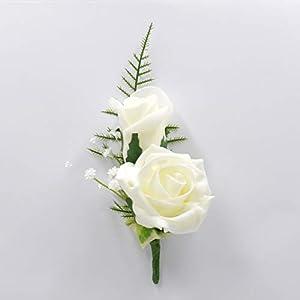 Petals Polly Flowers Detalle de flores artificiales para bodas, hechas a mano, rosas con espuma doble para colocar en el ojal, color marfil