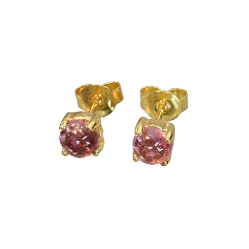 BONA ROCA Ohrstecker rosa Turmalin Cabochon 5mm Sterling Silber 18Karat Gold plattiert, OG-5405