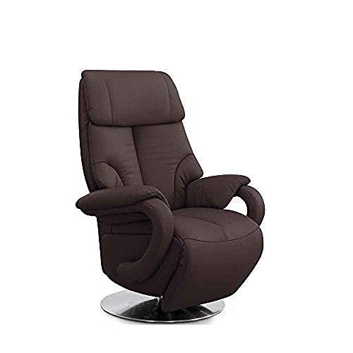 CAVADORE Ledersessel Istanbul / Fernsehsessel mit Aufstehhilfe, elektrisch verstellbarer Relaxfunktion / 2 E-Motoren / 80 x 115 x 79 / Echtleder: Braun