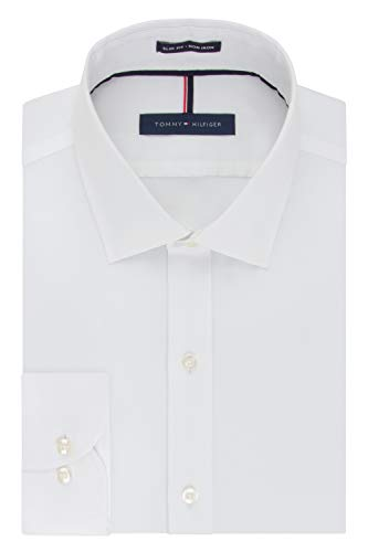 Tommy Hilfiger Men's Non Iron Slim Fit Solid Spread Collar Dress Shirt, White, 15.5' Neck 32'-33' Sleeve
