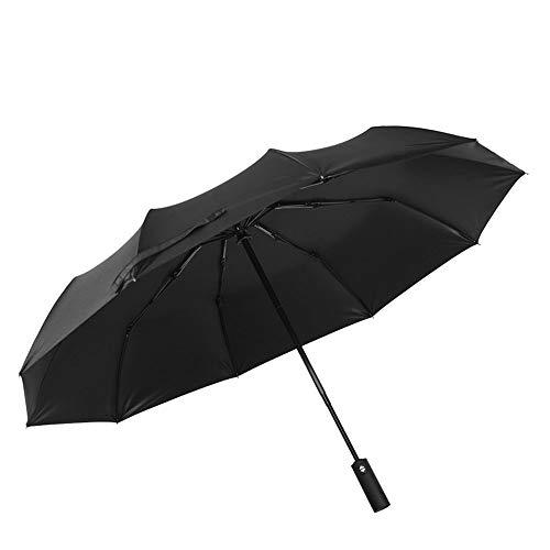 HUIHUAN Negro Anti-10 Bone Umbrella Black and Anti Strike Steel Tríptico semiautomático Protección solar contra viento y lluvia Material impermeable