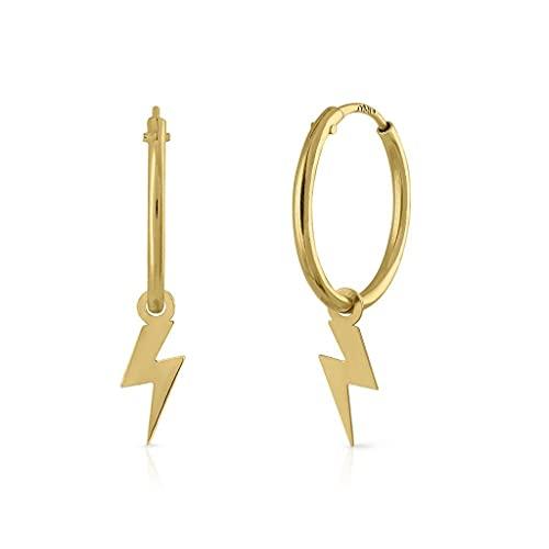 Pendientes Oro de Ley Certificado/Niña/Mujer. Aro con rayo pulido. Medida 10 mm (1-3874-AT10-8)