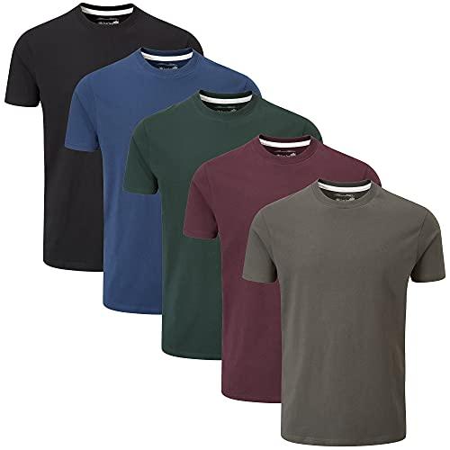 Charles Wilson 5er Packung Einfarbige T-Shirts mit Rundhalsausschnitt (Medium, Dark Essentials Type 41)