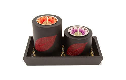 Thai Tantee® handgemachtes Teelichthalter Set mit Motiv, Thai Leaf Twin Rot, Tischdeko-Set mit Kerzenständer für 2 Teelichter, Asia-Deko aus nachhaltigen Materialien
