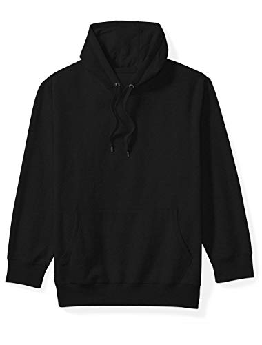 Amazon Essentials Men's Big and Tall Hooded Fleece Sweatshirt fit by DXL, Black, 6XLT