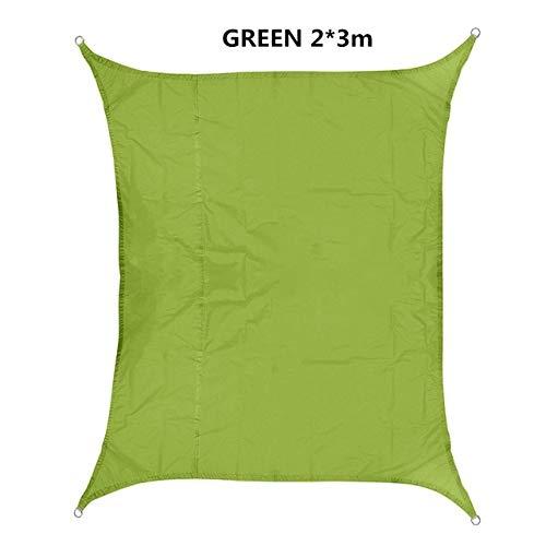 FUSSUF Shade 420D Impermeable Oxford rectángulo toldo de protección Solar Neto toldo al Aire Libre Sun Refugio Jardín Patio Piscina Toldo de Vela (Color : Green 2X3m)
