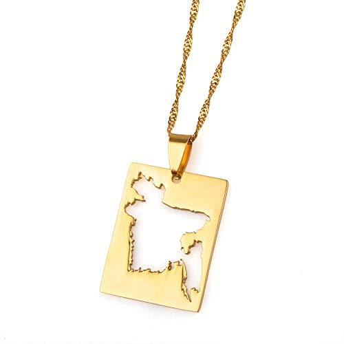 YOUHU Collar Mujer Mapa,Vintage Bengala País Mapa Colgante Cuadrado Dorado Mapa Ahuecado...