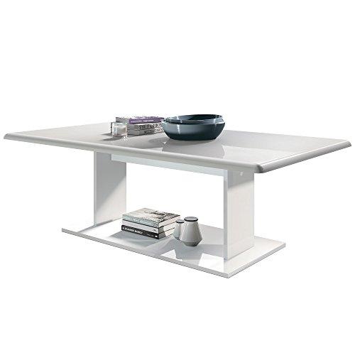 Vladon Couchtisch Beistelltisch Wohnzimmertisch Mono in Weiß mit Tischplatte in Weiß Hochglanz