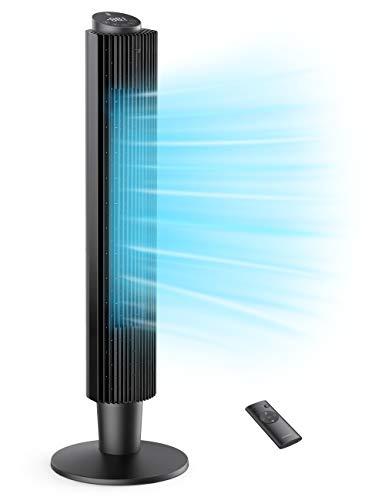 TaoTronics Turmventilator 90° Oszillierender 106CM Standventilator 35dB Leise Säulenventilator mit Fernsteuerung 12 Std. Timer 5 Geschwindigkeiten 3 Windmodus Raumventilator Home Büro