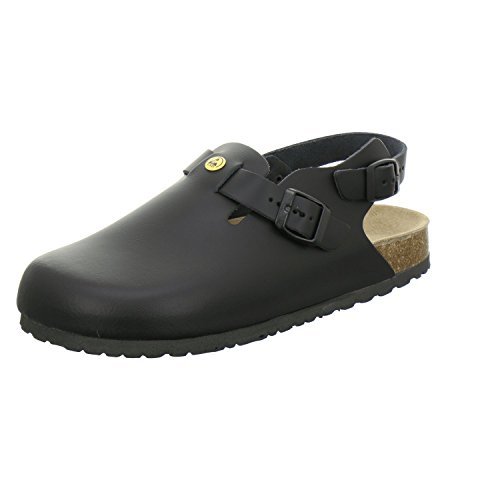 AFS-Schuhe 31940 ESD-Clogs, Bequeme Haus-Schuhe für Damen und Herren, praktische Arbeitsschuhe, hochwertiges, echtes Leder, modische, verstellbare Pantoletten, Made in Germany Größe 45 EU Schwarz (.