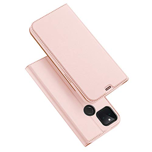 Leather Case for Google Pixel 5, Ultra thin Premium Leather TPU Silicone Shockproof Interior Shell Flip Protection Wallet With [Video Stand] [Card Slot] [Magnetic Closure], Rose gold