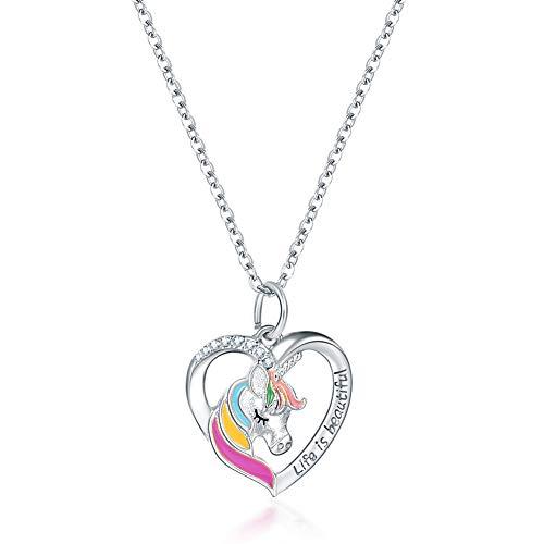 N/G Regalo de niña Unicornio, Collar de niña Unicornio, Regalo de Dama Unicornio, Regalo de cumpleaños de niña con Colgante de corazón (Plata)