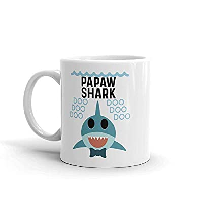 """Shark Papaw"" Unique Ceramic Coffee Mug/Cup (11 oz.) — Birthday Father's Day Christmas Gift For Dad Father Grandpa"