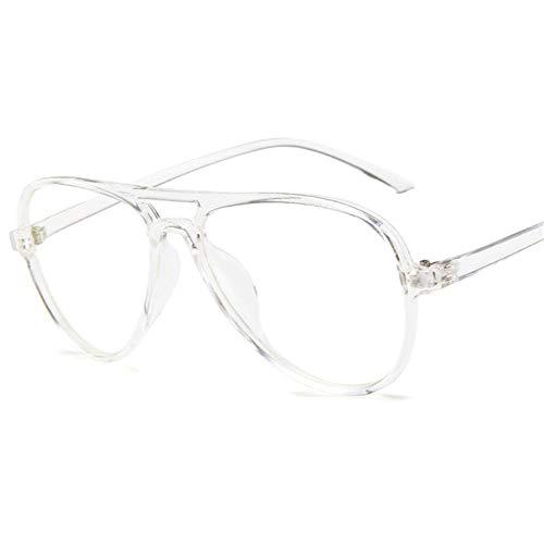 YHKF Brillen Mode Retro Pilot Brille Rahmen Frauen Männer Übergroße Brillenrahmen Klare Linse Transparente Brille-Klar