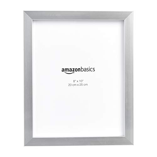 AmazonBasics Photo Picture Frame - 8' x 10', Nickel - Pack of 2