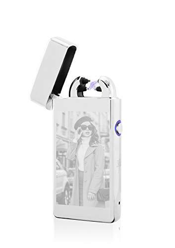 TESLA Lighter T08 Lichtbogen Feuerzeug, Plasma Double-Arc, elektronisch wiederaufladbar, aufladbar mit Strom per USB, mit Fotogravur, mit Ladekabel, in edler Geschenkverpackung Silber