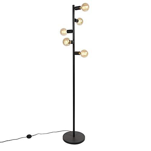 QAZQA Modern Skandinavische Stehlampe schwarz 5 Lampen - Facil Tube/Innenbeleuchtung/Wohnzimmerlampe/Schlafzimmer Stahl Länglich LED geeignet E27 Max. 5 x 40 Watt